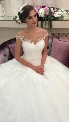 Lace Ball Gown Wedding Dresses Puffy Tulle Princess Bride Dress_2