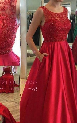 Applique Elegant Ruby Open-Back Long A-Line Sleeveless Prom Dresses_2