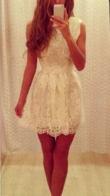 White Cute Lace Mini Homecoming Dresses A-Line Short  Summer Dress_2
