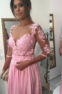 Pink Prom Dress 3/4 Sleeved Long Evening Dress with Lace Appliques_2