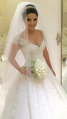 Gorgeous Tulle Crystal Wedding Dresses  Lace Short Sleeve Bridal Gowns_2