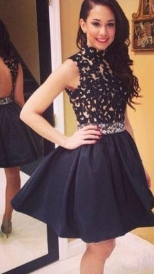 Black High Collar A-Line Mini  Party Dress Open Back Lace Short Homecoming Dresses_2
