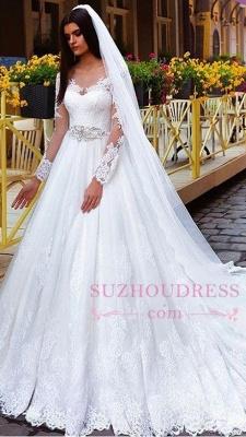Elegant Princess Crystal Lace Long-Sleeve Wedding Dresses_2