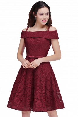 A-Line Lace Simple Burgundy Off-the-Shoulder Homecoming Dress_1