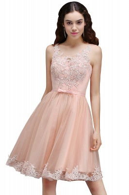 Short Sleeveless Tulle Bowknot Elegant Lace Homecoming Dress_1