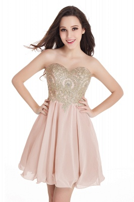 Sweetheart Cheap Mini Short Appliques Homecoming Dresses_2