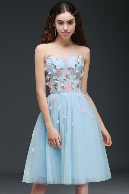 Flowers Short Lace-Up Embroidery Sweetheart Tulle Gorgeous Homecoming Dress_1