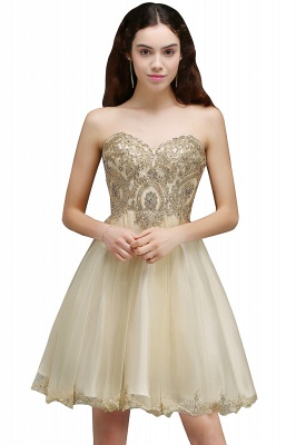 Appliques Lace-Up Short Sweetheart Lovely Homecoming Dress_2