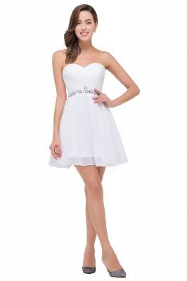 Short Chiffon Crystal Elegant Sweetheart White Homecoming Dress_1