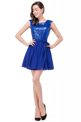 Short Sleeveless Sequins Elegant Chiffon Homecoming Dress_1