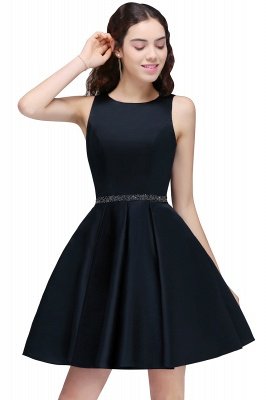 Sequare A-Line Black Beadings Short Sleeveless Homecoming Dresses_1