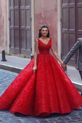 Glamorous Red V-Neck Sleeveless Prom Dress Ball Gown Party Dress