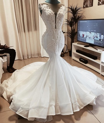 Beaded Fit And Flare Mermaid Wedding Dress Online   Sexy Deep V Neck Applique Bridal Gowns_2