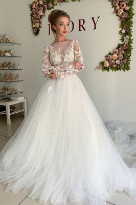 Elegant A-Line Long Sleeves Wedding Dresses Tulle Pleated Bridal Gowns