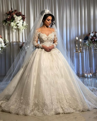 Gorgeous Long Sleeve Lace Ball Gown Wedding Dress With Off-the-Shoulder_2