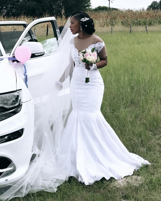 Fit And Flare Mermaid Applique Wedding Dress Online | Afric Style Short Sleeves Bridal Gowns_3
