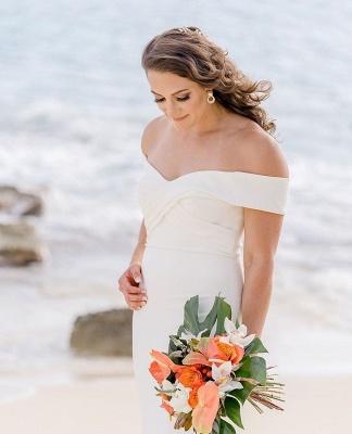 Sheath Sweetheart Wedding Dress Online | Elegant Off-the-Shoulder Chiffon Bridal Gowns_5
