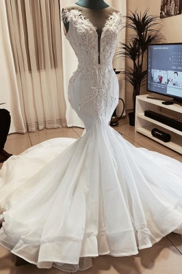 Beaded Fit And Flare Mermaid Wedding Dress Online | Sexy Deep V Neck Applique Bridal Gowns