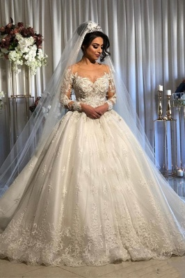 Gorgeous Long Sleeve Lace Ball Gown Wedding Dress With Off-the-Shoulder