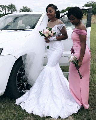 Fit And Flare Mermaid Applique Wedding Dress Online | Afric Style Short Sleeves Bridal Gowns_2