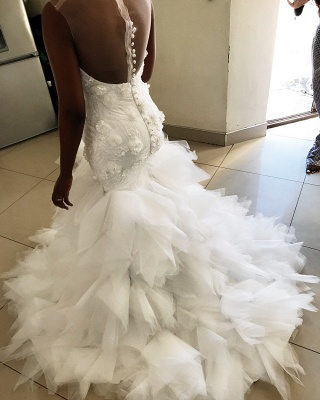Sleeveless Flowers Wedding Dress On Sale | Chic Mermaid Tulle Ruffles Bridal Gowns_2