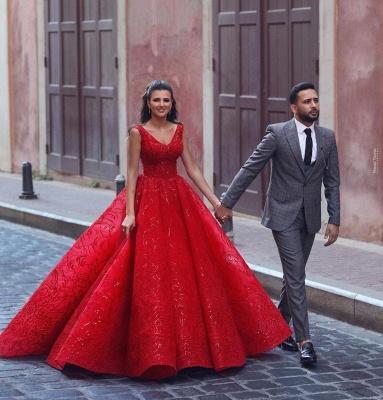 Glamorous Red V-Neck Sleeveless Prom Dress Ball Gown Party Dress_2
