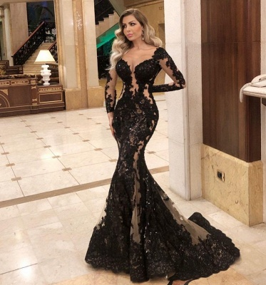 Glamorous Long Sleeve Black Prom Dress Lace Mermaid Evening Gowns_2