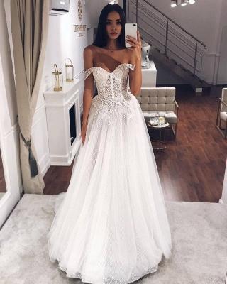 Elegant Off-the-Shoulder Long Wedding Dress With Lace Appliques Online_2