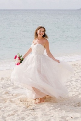 Long Tulle Wedding Dress Online | Gorgeous Sweetheart Lace Bridal Gowns_1