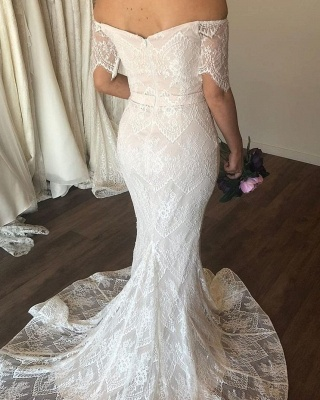 Off The Shoulder Lace Mermaid Wedding Dress On Sale | Graceful Sweetheart Short Sleeves Bridal Gowns