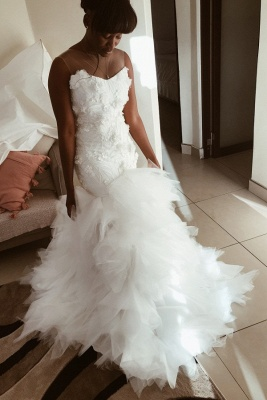 Sleeveless Flowers Wedding Dress On Sale | Chic Mermaid Tulle Ruffles Bridal Gowns