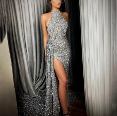 Gorgeous Halter Long Prom Dress Lace Appliques Party Gowns With Slit_2