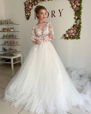 Elegant A-Line Long Sleeves Wedding Dresses Tulle Pleated Bridal Gowns_3