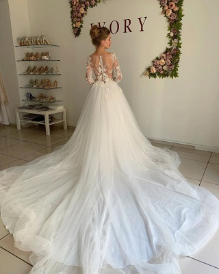 Elegant A-Line Long Sleeves Wedding Dresses Tulle Pleated Bridal Gowns_2