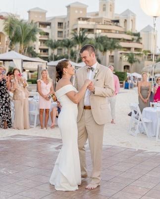 Sheath Sweetheart Wedding Dress Online | Elegant Off-the-Shoulder Chiffon Bridal Gowns_4