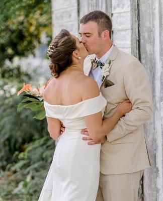 Sheath Sweetheart Wedding Dress Online | Elegant Off-the-Shoulder Chiffon Bridal Gowns_2