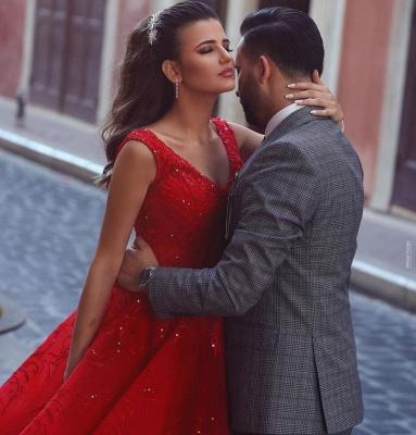 Glamorous Red V-Neck Sleeveless Prom Dress Ball Gown Party Dress_3