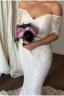 Off The Shoulder Lace Mermaid Wedding Dress On Sale | Graceful Sweetheart Short Sleeves Bridal Gowns_1