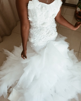 Sleeveless Flowers Wedding Dress On Sale | Chic Mermaid Tulle Ruffles Bridal Gowns_3