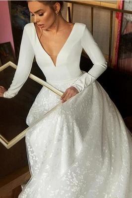 Boho Long Sleeve Appliques Wedding Dress On Sale | Elegant V-neck White Lace Bridal Gowns_4