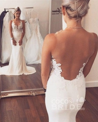 Sleeveless Lace Beach Wedding Dress Online | Summer Mermaid Bridal Gowns_2
