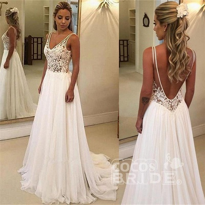 Appliques A-Line Floor-Length Wedding Dress On Sale | Charming V-Neck Sleeveless Bridal Gowns_3