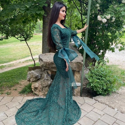 Chic Green Long Sleeve Lace Prom Dress Mermaid Evening Party Gowns_3