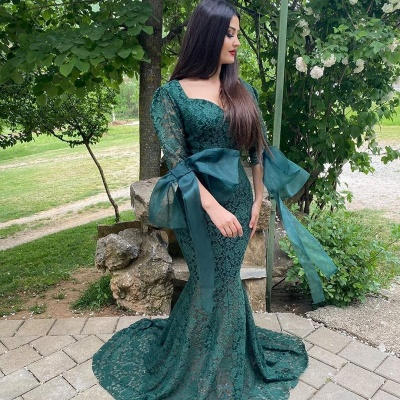 Chic Green Long Sleeve Lace Prom Dress Mermaid Evening Party Gowns_2