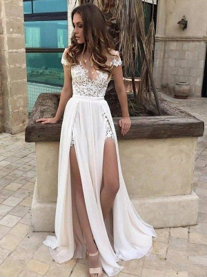 V-neck Lace Chiffon Floor-Length Bridal Dress Online | A-Line Side Split Sleeveless Bridal Gowns_1