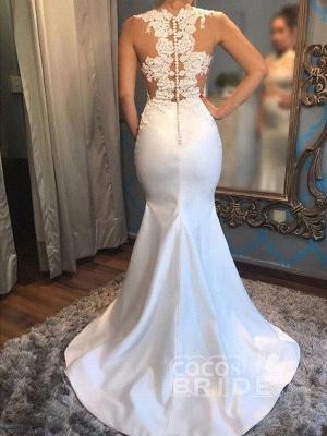 Satin Applique Court Train Wedding Dress On Sale   Mermaid Scoop Sleeveless Bridal Gowns_2