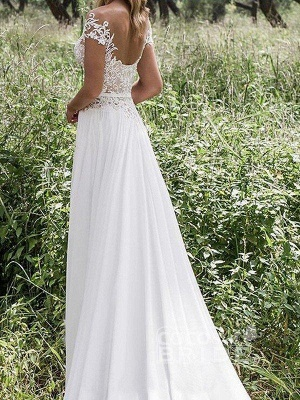 V-neck Lace Chiffon Floor-Length Bridal Dress Online | A-Line Side Split Sleeveless Bridal Gowns_2