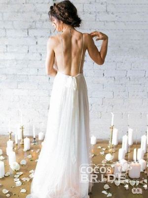 A-line Backless Floor Length Wedding Dress Online | Sexy Spaghetti Straps V-neck Bridal Gowns_2