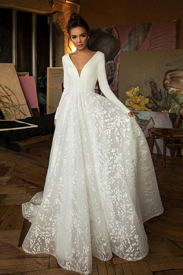 Boho Long Sleeve Appliques Wedding Dress On Sale | Elegant V-neck White Lace Bridal Gowns