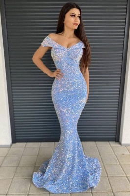 Off-the-Shoulder Sequins Prom Dress Long Mermaid Evening Party Gowns
